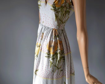 Pastel Bouquet John Bates for Jean Varon Vintage 1970s Plunging Maxi Summer Dress
