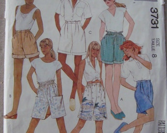 Womens Shorts Sewing Pattern with Different Waists,Vintage McCalls Pattern 3731, Misses set of Shorts, Size: 8, Uncut