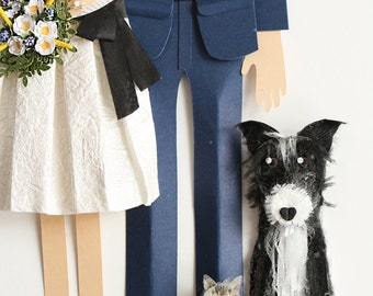 Custom Wedding Portrait made from paper. Couple portrait with two pets – Great 1st Anniversary Gift or a One of a kind Wedding Gift