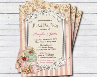 Bridal tea party invitation. Elegant shabby and chic afternoon tea party, garden tea printable digital invite. pink stripes T028