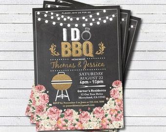 I do BBQ invitation. Chalkboard floral, string light I do BBQ couple shower Engagement party. Wedding shower BBQ party digital invite. EN003