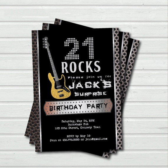 Surprise 21st Birthday Invitation. 21 Rock And Roll Music Base