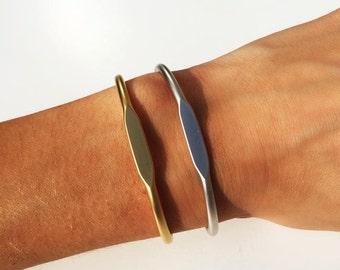 Cuff Bangle Bracelet. Matte Silver Plated over Brass or Matte Gold Plated over Brass. Simple Bangle Bracelet. Festival. Coachella