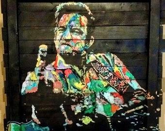 Reclaimed Wood Wall Art Pallet Art Johnny Cash Art by Matt Pecson Large Wall Art Large Wood Art Wall Decor Best Selling Items MADE TO ORDER