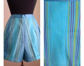 "Vintage 50s/60s Cotton Shorts/ ""Mode O Day""/Blue Green Stripe/Deadstock/High Waist/Pinup Girl /1950 Rockabilly VLV /26 inch waist/Size S"