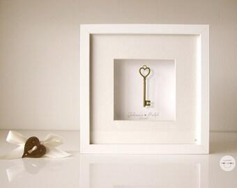 Wedding Personalized gift - customized gift Bronze Anniversary - heart key antique bronze - Art frame - framed under glass