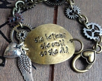 She Believed she could...bracelet. hand stamped