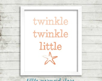 Twinkle Twinkle Little Starfish Printable, Instant Download