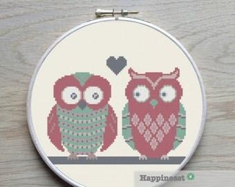 Cross stitch pattern owls on twig, modern cross stitch, PDF ** instant download**