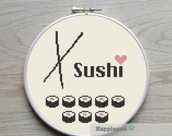 Modern cross stitch pattern i love you to the moon for Modern house sushi 9 deler sett