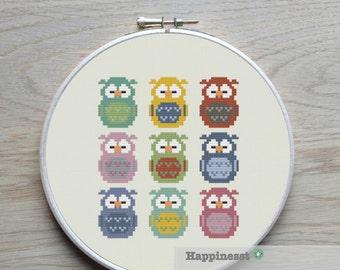 cross stitch pattern little owls, modern cross stitch, PDF ** instant download**