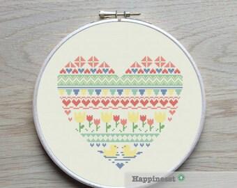modern cross stitch heart, nordic folk art, spring,  PDF ** instant download**