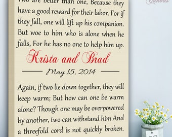 Custom Bible Verse/ Ecclesiastes 4:9-12/ Wedding Lyrics Personalized Custom Canvas Names & Dates