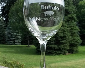 Hand Etched Buffalo NY Skyline Wine Glasses