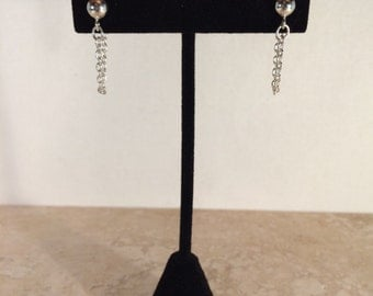 Silver-Plated Chain Stud Earrings