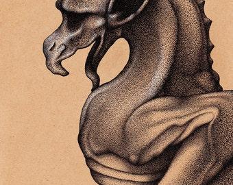 Gargoyle Pen & Ink Drawing Illustration Art Print Gothic Giclee Print