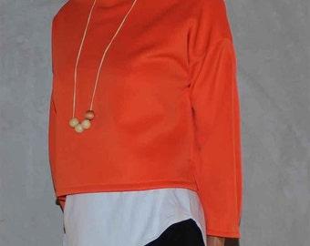 Orange Scuba Knit Long Sleeve Top