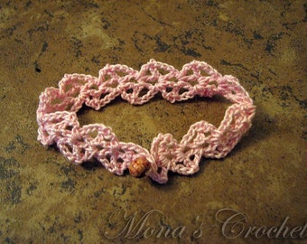 Hand Crocheted Lacy Cuff Bracelet - Pink