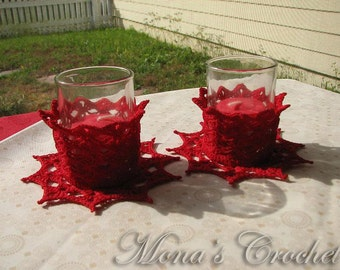 Hand Crocheted Red Christmas Votive Candle Holders - Set of 2