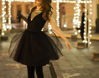 Black swan - ladies tulle skirt / adult tutu skirt / black tulle skirt