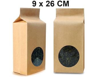 100 lot Kraft Bags with Circle Window / Aluminum Foil Mylar Packaging - Food Storage: Coffee, Tea leaf, Herbs, Cookies, Bath Salt