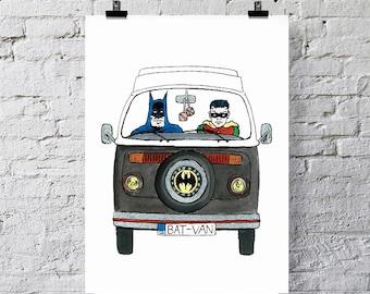Batman VW Camper.  Art Print.  'Bat-Van'