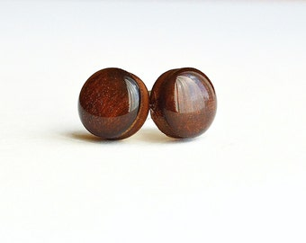 brown earrings gift , boho wooden earrings