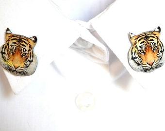 Tiger jewelry , tiger brooch ,tiger pin , tiger shirt , tiger accessory , tiger lover , tiger gift idea , quirky animal brooch , animal pin
