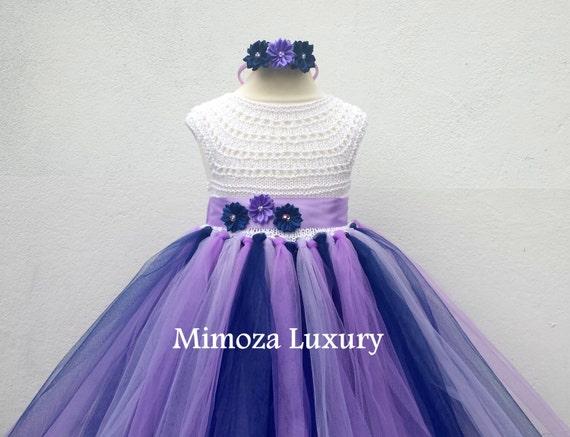 Navy Lavender Purple Flower girl dress, tutu dress,bridesmaid dress, princess dress, crochet top tulle dress, hand knit top tutu dress