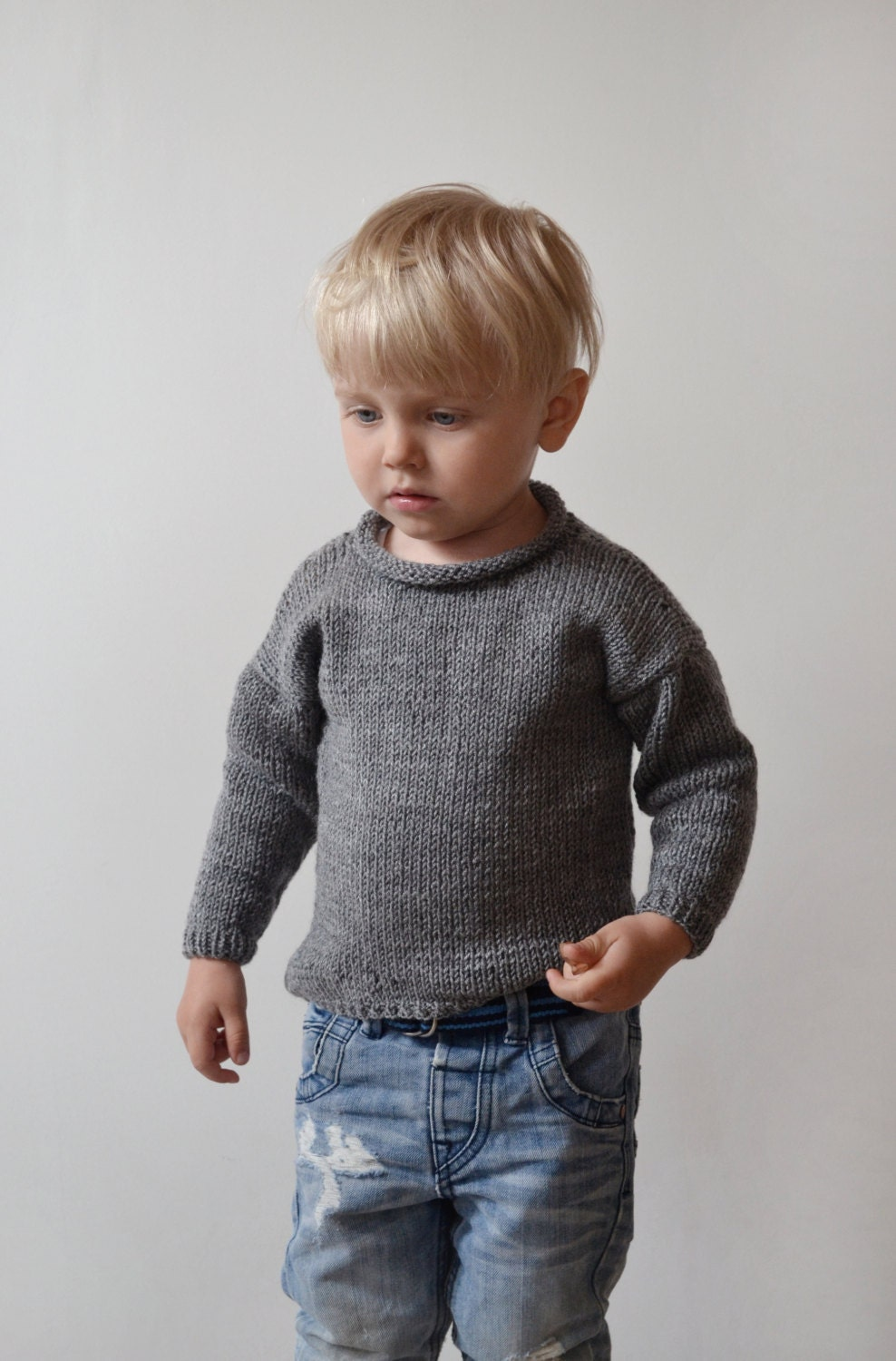 Knitting Kids Sweater : Hand knit toddler sweater hipster kids grey boy