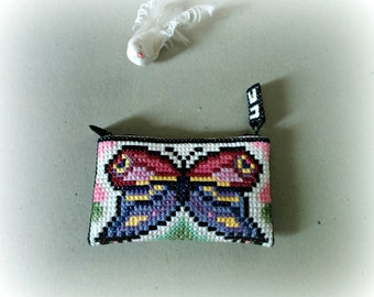 Made to order: Butterfly fairy Cosmetic Bag hand embroidered / One of a kind / Tiny Clutch / Birthday / Christmas / Special day / Everyday