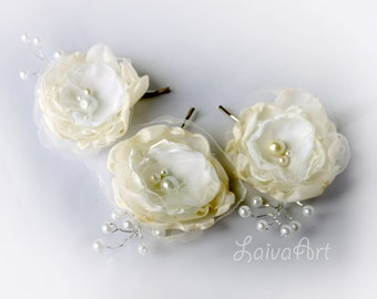 Wedding Fabric Flower Hair Pin Bridal Accessories Ivory, Rustic Wedding  Vintage Victorian Shabby Chic,