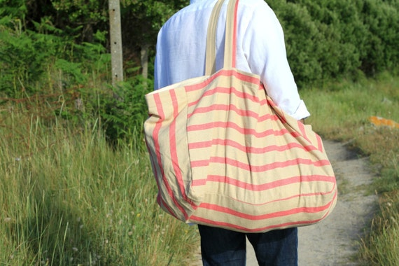 Extra large linen beach bag Canvas beach bag Striped tote
