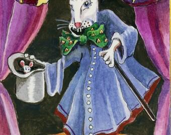 Magician Bunny Original Watercolor