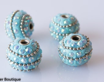 4 TURQUOISE BLUE Indonesian Clay Beads, Clear Crystals Bali Accents