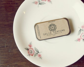 """solid perfume slide tin """"elevated"""" // beeswax solid perfume // rosemary citrus solid perfume // .25oz tin"""