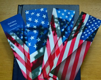 4 USA Flag Bookmarks, veteran gift, military gift, citizenship gift, stocking stuffer, red white blue, gift under 10, July 4, American flag