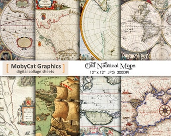 "Nautical Maps Digital Papers 12""x12"" Old Maps Photo Backdrops Paper Commercial Use Instant Download"