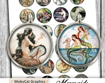 "Mermaid Circles 12mm 20mm 30mm 1 inch 1.5"" Printable images for Cabochons Pendants Bottlecaps Digital Collage Sheet - Instant Download"