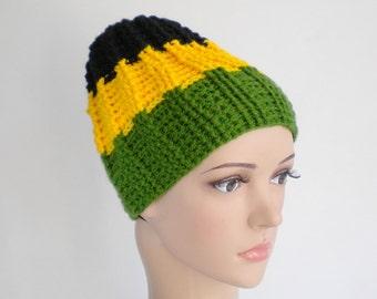 Jamaica beanie, skull fit rasta hat, Kingston rastafari hat, Jamaica wear