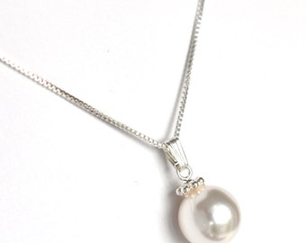 Classic pearl pendant necklace Swarovski pearl bridal jewelry sterling silver traditional bride wedding jewelry classic bride .925 silver