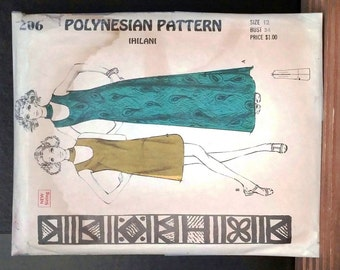 Vintage 1970's Polynesian Pattern-Hawaii-Dress Pattern #206 Size 12 Misses