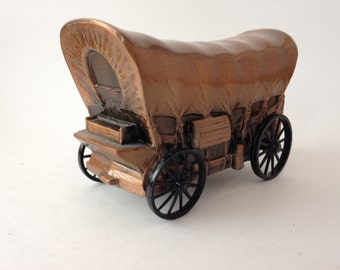 Vintage 1974 Banthrico Chicago Promotional Bank Bronzed Die Cast White Metal Covered Wagon Handmade
