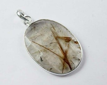 925 Sterling Silver Golden Rutile/ Golden Rutilated Quartz Pendant SF-1138
