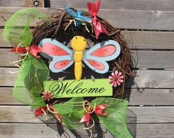 "18"" Spring Wreath Welcome Spring Wreath Dragonfly Wreath Spring Twig Wreath Deco Mesh Spring Wreath Spring Decor Summer Dragonfly Wreath"