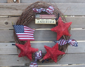 "15"" Patriotic Wreath God Bless America Wreath Star Wreath Flag Wreath 4th Of July Wreath Grapevine Patriotic Wreath Rustic Patriotic Wreath"
