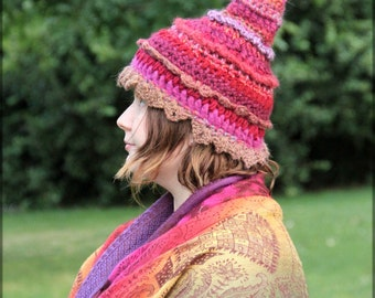 Happy pink, fuchsia, crimson pixie hat, pointed hat, freeform crochet, mix of yarns, fiber art, fairy clothing, festival clothing
