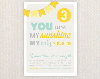 Personalized Birthday Invitations. You are my Sunshine Design. I Customize, You Print.