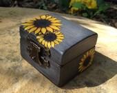 Engagement Ring Box - Sunflower Wedding - Ring Bearer Box - Yellow and Grey Wedding