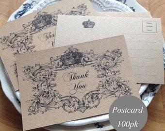 "kraft Thank You Cards Thank You Postcards Thank You Notes 4x6"" Rustic Wedding, Kraft Cardstock Vintage Style Printed 100pk Bulk Pack"